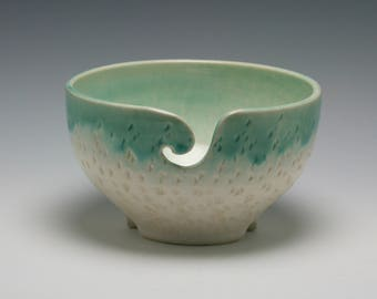 Large Ceramic Yarn Bowl, Stoneware Knitting Accessory White and Mint Green with lovely carved texture - ready to ship/Ceramics and Pottery