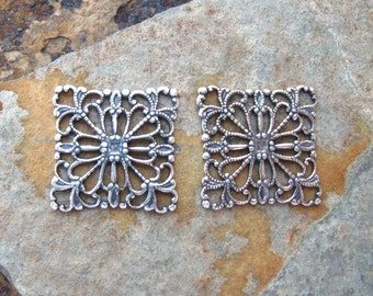 2 Antique Silver Square Filigrees -  Trinity Brass Co - Low Shipping