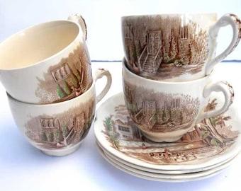 Haddon Hall Johnson Bros Cups Saucers x4 Vintage