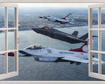 Air Force Fighter Airplane 3D Window Effect Wall Sticker Art Decal 478