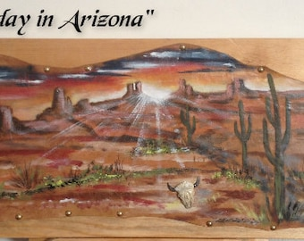 "Painting on leather ""End of the day in Arizona"""