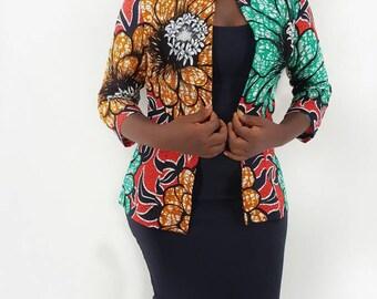 Toyo African Print Jacket// Affrican Jacket , Summer blazer, African print jacket, African print,  African fabric, Ankara Fabric