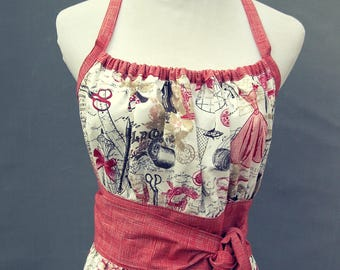 Ladies Apron in Red White Tan Vintage Sewing Design Fabric