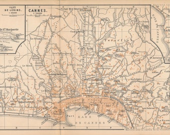1898 Cannes, France, Mediterranean, French Riviera Antique Map