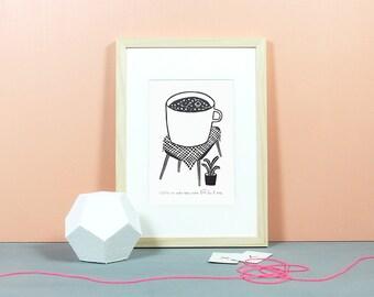 Eine große Tasse Kosmos | Linoldruck, Linolschnitt, Grafik, Druck, Print, Original, limitiert, Kaffee, Café, kosmisch, Weltall, schwarz, A5