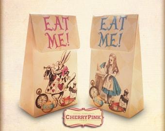 Alice favor bags, Wonderland favor, Alice in Wonderland party decoration,  Alice party printables
