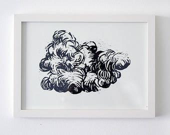 Original woodcut, wood print, cloud