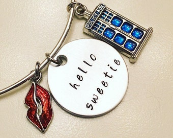 Hello Sweetie River Song Eleventh Doctor Doctor Who Companion TARDIS Adjustable Bangle Charm Bracelet