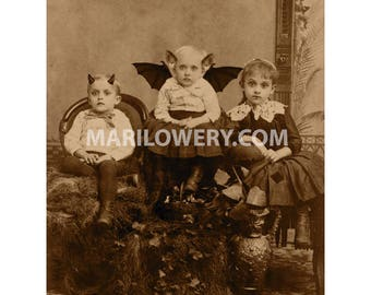Halloween Wall Art, 8x10 Inch Print, Creepy Children, Oddities Halloween Decor
