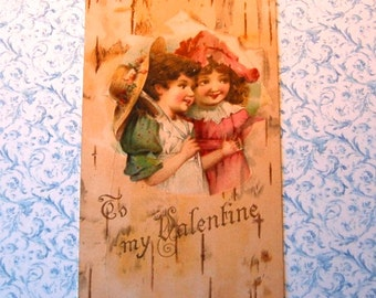 Vintage Valentine Post Card Young Girls