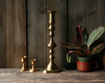 Large Brass Candlestick Holder Vintage 70s From Nowvintage on Etsy