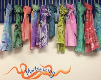 Hand marbled 100% silk scarves