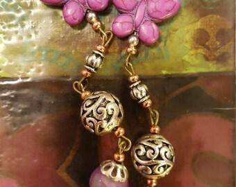 purple butterfly dangle earrings