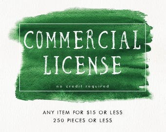 Commercial License for single item, no credit required, 250 pieces
