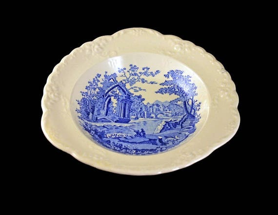 Coupe Soup Bowl, Taylor Smith & Taylor, English Abbey, Fairway, Embossed, Hard to Find, Blue and Cream Colored, Fine China
