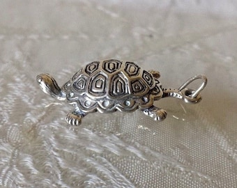 Sterling Silver 925 Turtle Pendant Charm Estate Find