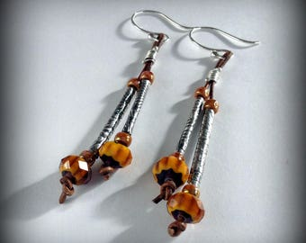 Silver Leather and Bead Dangle Earrings