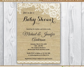 lace baby shower invitation / lace baby shower invitation / burlap baby shower invitation / rustic baby shower invitation / INSTANT DOWNLOAD