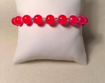 """Red and silver jade"" bracelet"