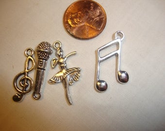 Charms 4 square Dance Do Si Doe dancing school antique silver dancer, 2 musical notes, microphone bracelet jewelry supply SC022