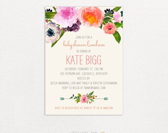 Baby Shower Invitations- Wedding Shower- Bridal Shower - Couples shower- Birthday- Watercolor Flowers - printed or digital
