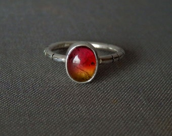 Watermelon tourmaline ring / pink, gold, green tourmaline ring / October birthstone / tricolor tourmaline jewelry / ready to ship ring