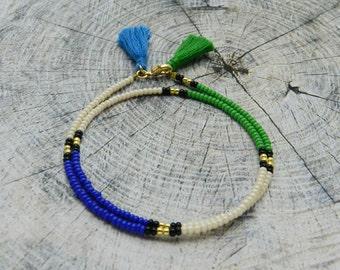 Seed Bead Friendship Bracelet Tassel Beaded bracelet Boho Jewelry Сolourful Wrap Bracelet green blue cream gold Best Friend Gift for her