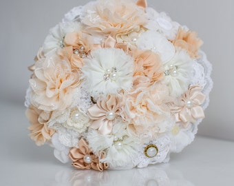 Cream & peach fabric brides bouquet