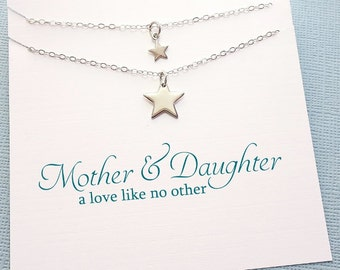 Mother Daughter Jewelry Set | Star Necklace, Moon Necklace, Mother Daughter Gift Set, Gift for Mom, Mothers Day Gift, Mom Gift | MD04