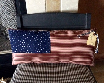 Primitive American flag pillow/shelf sitter