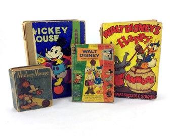 Lot 4 Vintage Mickey Mouse Walt Disney Books Annuals Comic Antique 1930s & 1970