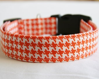 Dog Collar-Orange and White Houndstooth- Adjustable Dog- Pet Collar-Small to Large Breed Dog-1 inch 1.5 -2 inch width