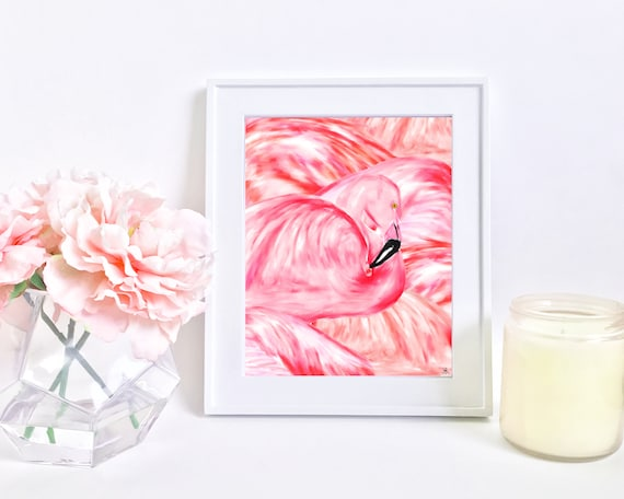 Flamingo print, flamingo art, flamingo painting, travel bug, wanderlust, jet setter, girly wall art, summer art, pink art, pink print, girly
