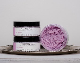 Natural Sugar Scrub, Lavender, with Organic Shea Butter,  8 oz. by Green Bubble Gorgeous on etsy