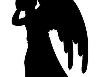 Vinyl Decal Weeping Angel 2x4in