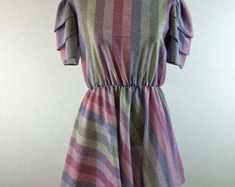 Speckled Purple Stripe Mini Dress