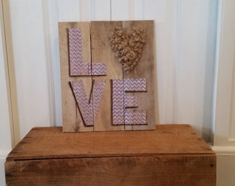 Love twisted in knots, mixed media pallet art, Chevron patterned letters, jute