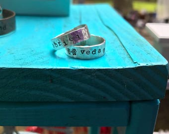 Personalized Hand Stamped Stacking Rings