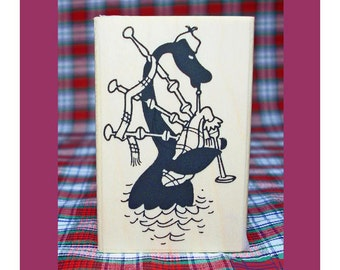 Nessie Playing Bagpipes Rubber Stamp Loch Ness Monster #804