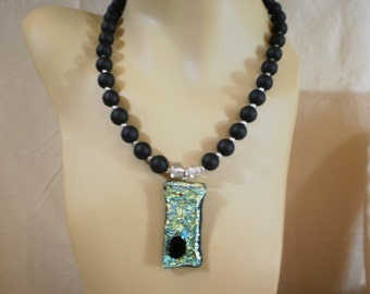 Green Dichroic Glass Pendant Necklace