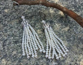 Long white freshwater pearl tassel earrings,wedding earrings,special occasion earrings