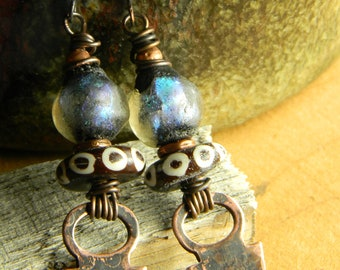 Blue Basha Earrings Tribal Bone Copper Tanfolk Beaded Wire Wrapped