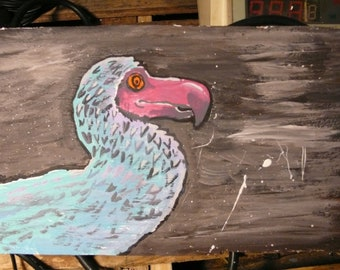 dodo bird painting acrylic on wood