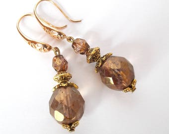 Colors gold and bronze earrings, vintage style, glass beads