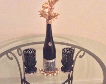 Custom Bling Wine Bottle Centerpiece