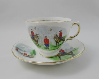 Mountie Tea Cup and Saucer - Royal Canadian Mounted Police - RCMP - Made by Royal Vale