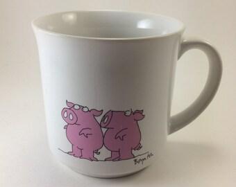 Pig mug Sandra Boynton 80s Coffee Tea or Mud  strong coffee teacup animal illustration
