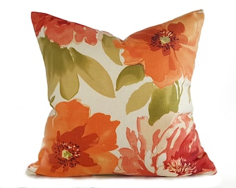 Orange Pillows, Designer Pillow, Floral Pillow Covers, Orange Green Pillows, Large Flower Pillows, Summer Throw Pillows, Cream Orange, 18x18