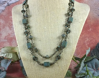 Turquoise multi strand beaded necklace, Greek key Czech beads, brass beads and chain