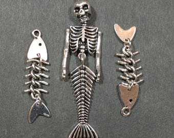 1 x Jointed Skeleton mermaid and 2 Jointed skeleton fish